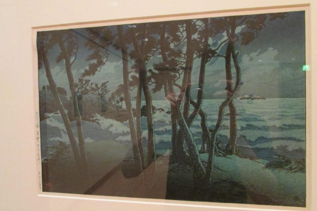 Kawase Hasui, Hinomisaki, Province Izumo (série Souvenirs de Voyage, troisième pièce) 1924. Cette série de tableaux était magnifique. Ils avaient un côté bd (la ligne claire certainement). Peut-être mes pièces préférées de tout le musée.